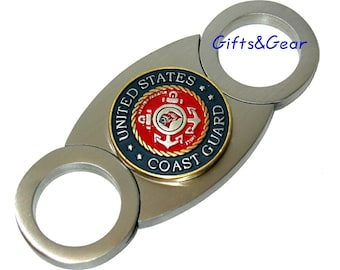 Big Finger Custom Logo US Coast Guard Logo Stainless Steel Guillotine Cigar Cutter NEW