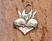 Sterling Silver Sacred Heart with Thorns // Crown of Thorns Heart Charm // H-720 photo