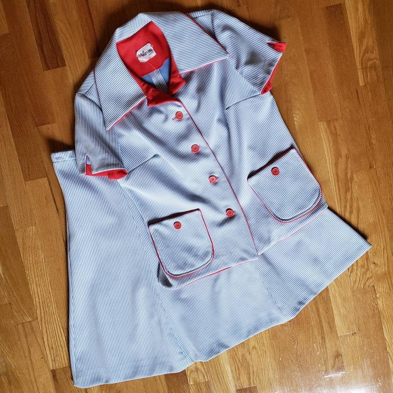 1960/'s Light Blue Striped Summer Suit Set Medium