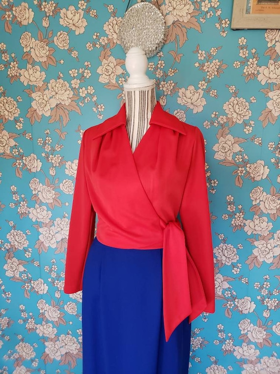 70's Red Polyester Wrap Top- Medium