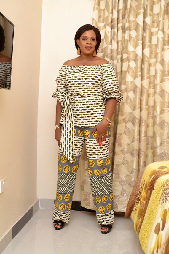 bc869bcd029f43 African Style/ Ankara Pant and Off-Shoulder Top/ Ankara Wrap   Etsy