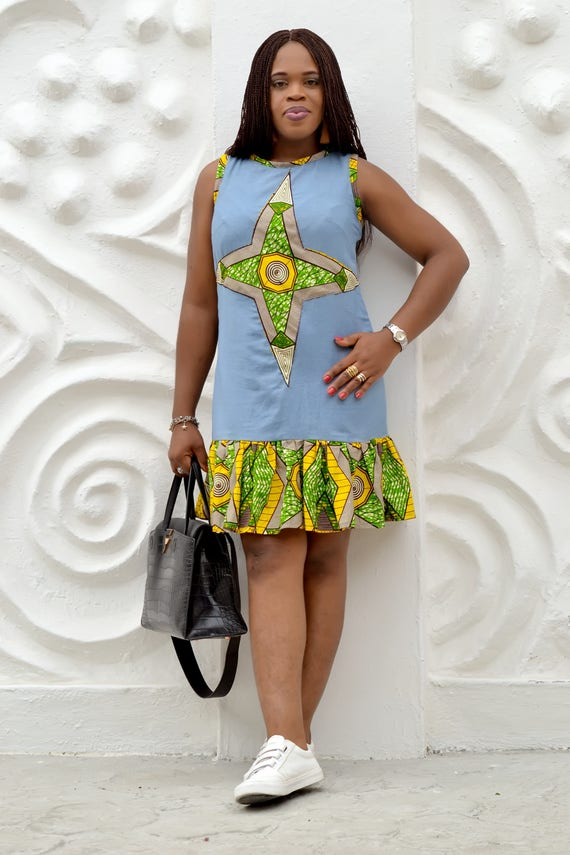e0a8bf25df Ankara X Denim  Ankara Dress  African Print  Quality