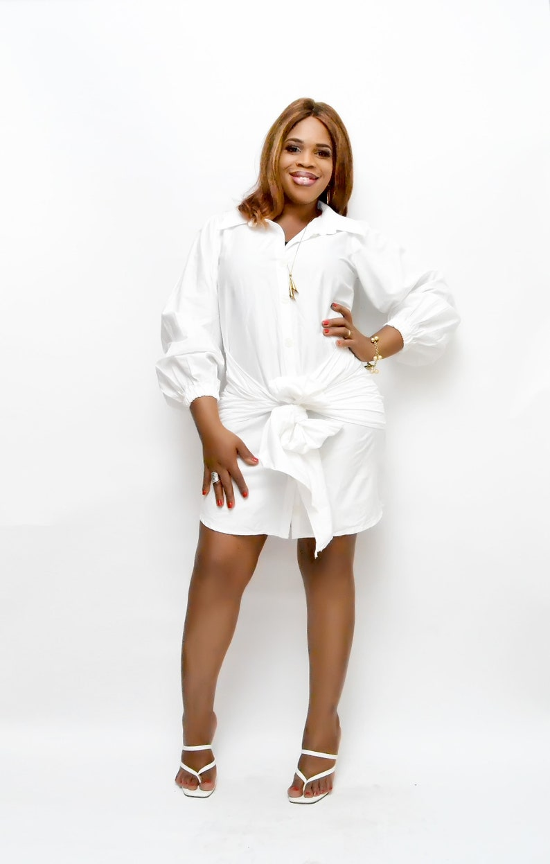 White Cotton Shirt Dress with Sash African Print Head Wrap African Style African Wax print Women Fashion
