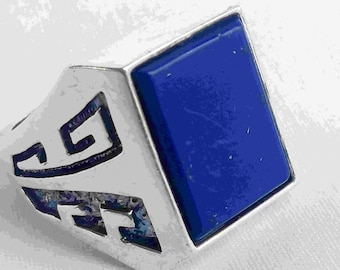 Modernist Tribal Native American Indian Blue Lapis Silver Mens Ring