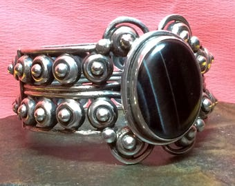 Tribal Vintage Silver Los Ballesteros Mexican Tigers Eye Scroll Brutalist Bracelet