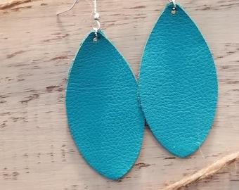 Teal Leaf Leather Earrings