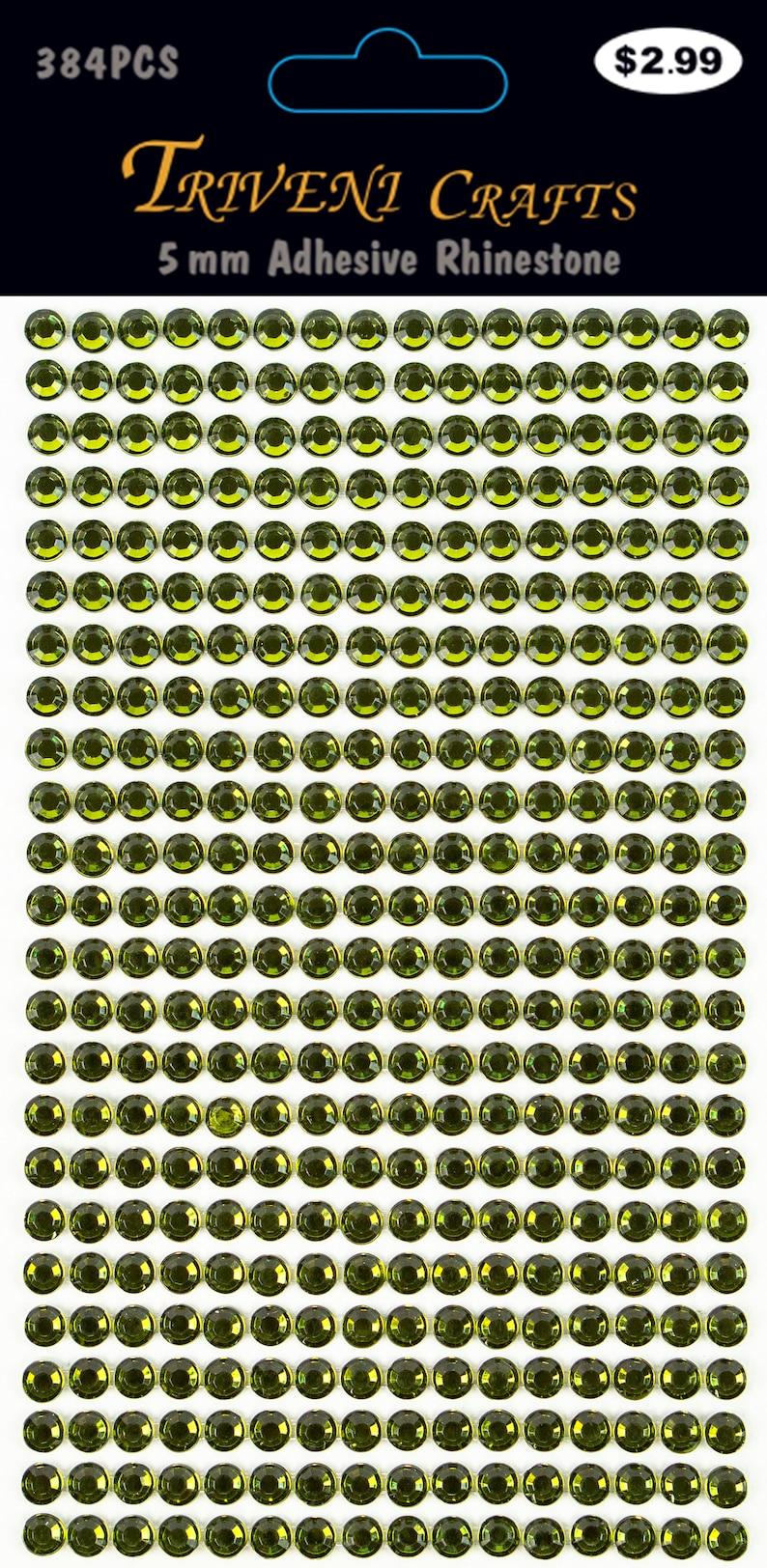 3 Sheets Olive 5mm Adhesive Rhinestone Dot Sticker