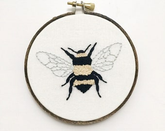 Embroidery Art - Embroidery Hoop Art - Hand Embroidery - Modern Embroidery - Embroidered Home Decor - Bumble Bee