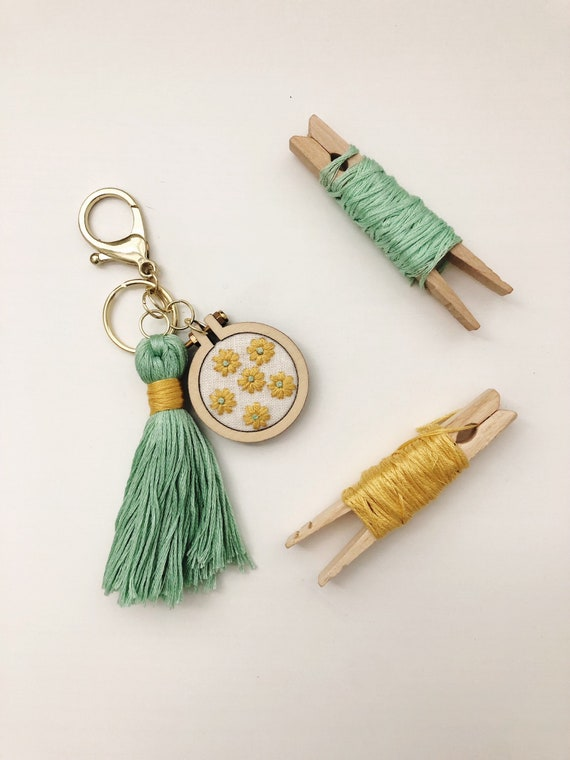 Embroidered Keychain - Bag Charm - Purse Charm - Embroidery Hoop Art -  Embroidered Accessories - Hand Embroidery - Modern Embroidery