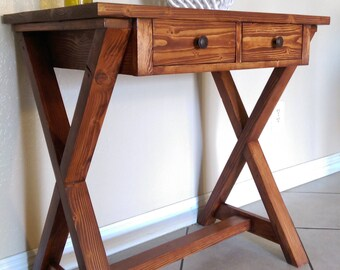 Cross-legged Wood Desk / Table with Drawers