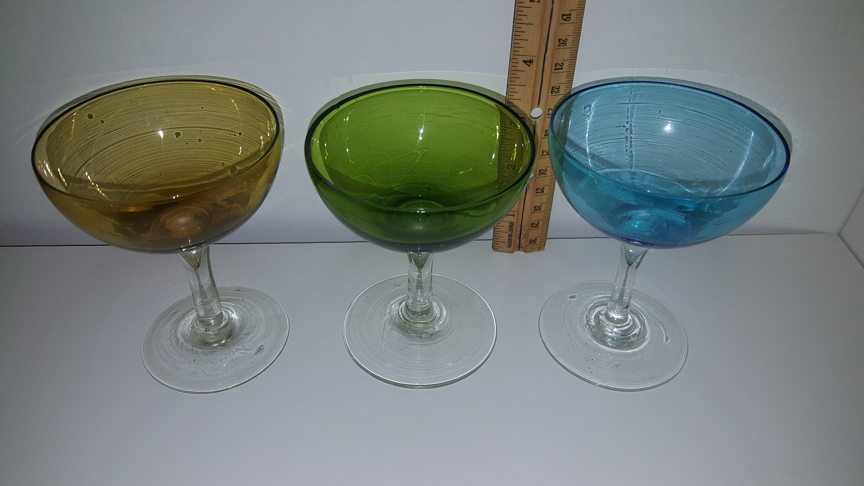 Vintage Coupe Champagne Glasses 3 Color Mini Retro Set Dessert Etsy