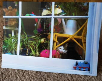 Cat in the window, Leamington Spa - Greeting Card