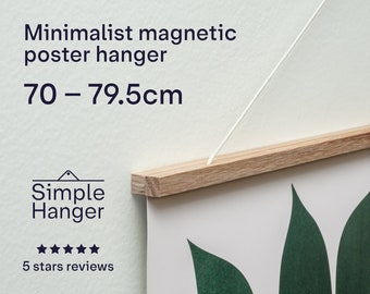 70–79.5cm Simple Hanger —lightweight, minimalist, magnetic, wooden poster and picture hanger.
