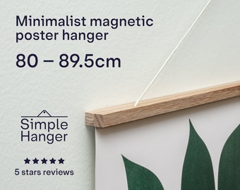 80–89.5cm Simple Hanger —lightweight, minimalist, magnetic, wooden poster and picture hanger.