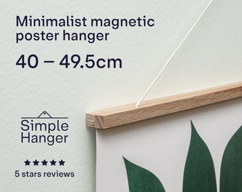 40–49.5cm Simple Hanger —lightweight, minimalist, magnetic, wooden poster and picture hanger.