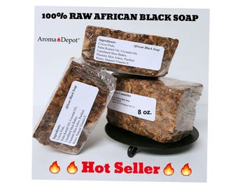 African Black Soap 8oz Bar 100% Natural Raw Pure WHOLE SALE From Ghana Buy 2, Get 1 FREE!!