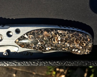Turritella, single sided, stone handle, spring assisted, M-Tech Knife - gray white and black stone fossil shells
