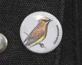 Cedar Waxwing Bird Pin