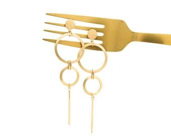 Gold Circle Earrings, Drop Earrings, Circle Earrings, Geometric Earrings, Gold Circle Bar Earrings, Gold Hoops, Statement Earrings,