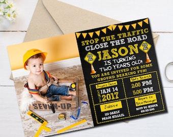 Construction Birthday Invitation, Construction Party Invitation, Construction Invitation, Construction Birthday Party, Construction Birthday