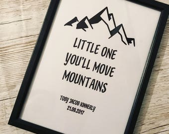Little one you'll move mountains personalised framed wall art sign plaque baby childrens new born gift