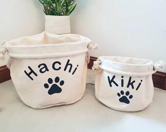 Personalised pet canvas storage basket  dog toy cat toy canvas storage basket toy box