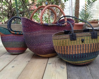 West Africa palms leaves hand bags