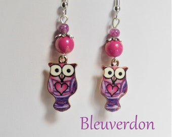 Funny owls earrings pink and purple