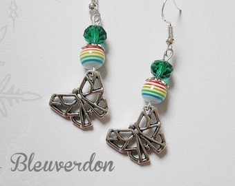 Rainbow beads and origami butterfly earrings