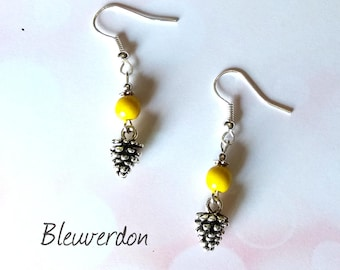 Earrings pinecones and yellow howlite bead