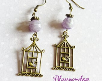 Birdcages and Amethyst earrings