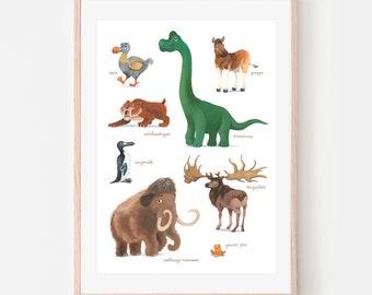 Uitgestorven dieren poster Nederlands A4