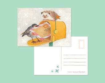 Ansichtkaart egel & roodborstje brievenbus