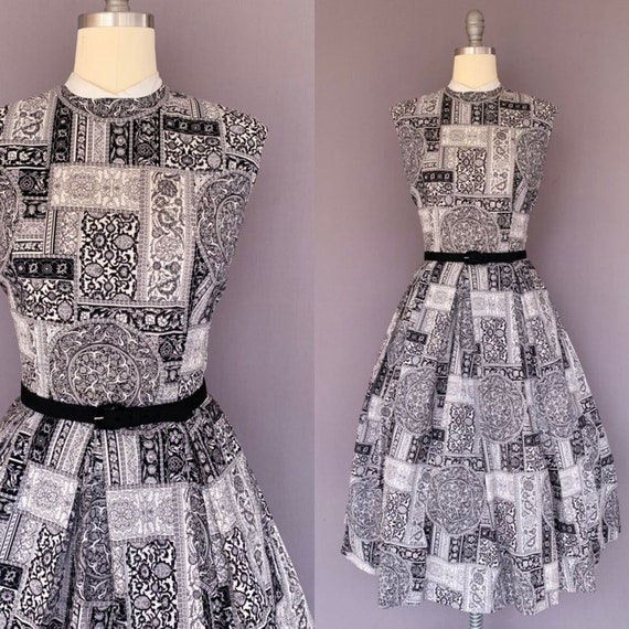 1950s vintage dress - Mode O Day - Black and White