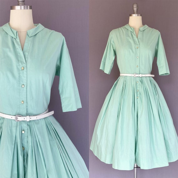1950s mint green dress - vintage green dress - vlv