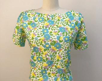Vintage blouse - vintage blue floral blouse witb scalloped waist