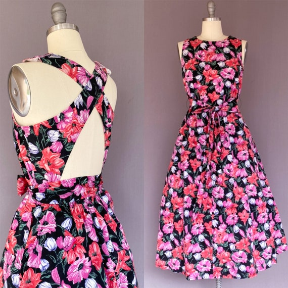 1980s does 1950s dress - vintage flower power- 198