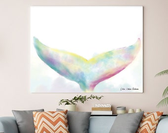 Home Decor Wall Art, Watercolor Painting, Bedroom Wall Art, Living Room Art,  Living Room Wall Decal, Large Canvas Art, Whale Art, Blue Art