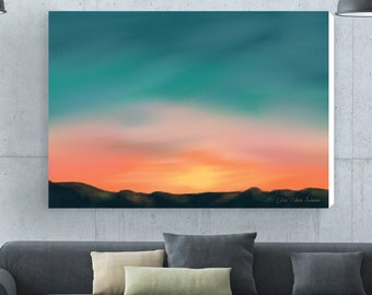 Living Room Wall Decal, Blue Painting Print, Large Canvas Art, Bedroom  Painting, Sunset Print, Large Abstract Painting, Sunset Wall Art