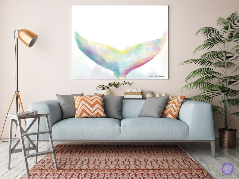 Watercolor Whale Canvas Wall Art, Whale Art, Abstract Painting, Bedroom  paintings, Whale print, Bedroom Whale Decor, Large Living Room Print