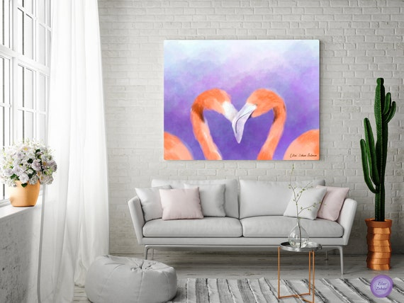 Flamingo Canvas Wall Art, Romantic Painting for Bedroom, Nature Painting  for Living Room, Wall Paintings for Office, Gift for Couples