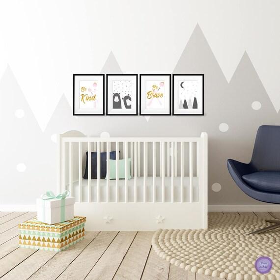 Kids Bedroom Nursery Print Baby Room Pink Mountains
