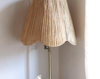 Scallop Raffia Floor Lamp Lampshade, Wicker Lampshade, Rustic Boho Lampshade