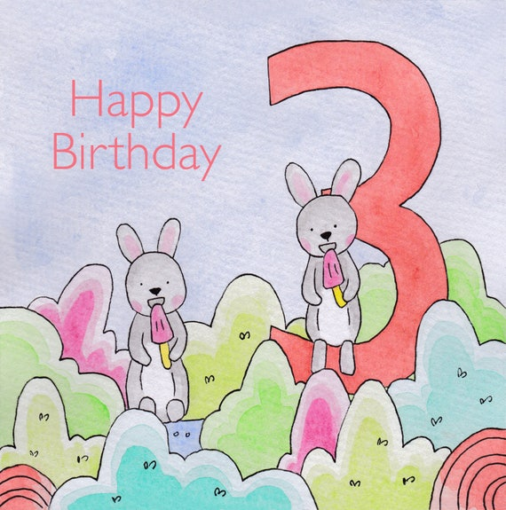 3rd Birthday Card For Boys And Girls Twins Birthday Rabbits Etsy