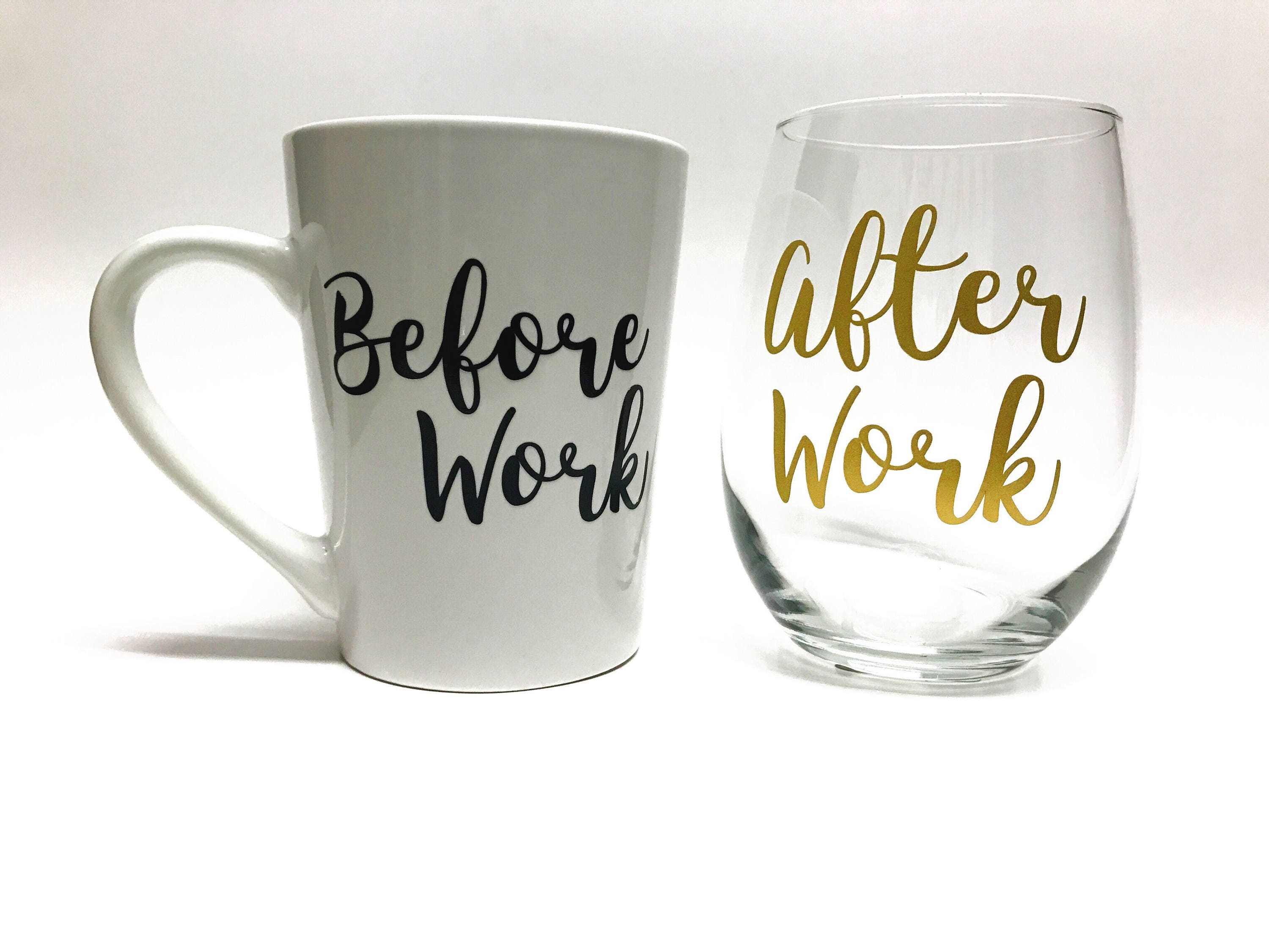 Coffee Mug and Wine Glass Set Before and After Work Cups | Etsy