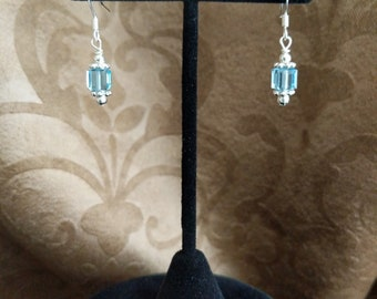 Blue cube Swarovski earrings