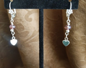 Petite purple and heart earrings