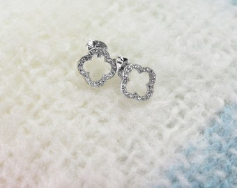 Bridesmaid! Handmade Sterling Silver Clover Earrings with  Swarovski crystals.