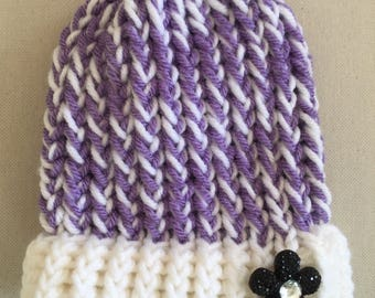 Crochet Baby Hat, Baby Beanie, Newborn Hat, Baby Girl, Baby Shower Gift, Lavender, White, Flower