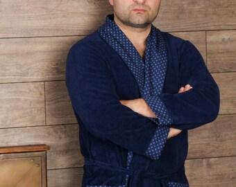 Men s Robe - Dark Blue Light Cotton Robe - Lightweight Cotton Dressing Gown  - Men s Bathrobe - 100 % Organic Cotton Bathrobe a7adcd6c6